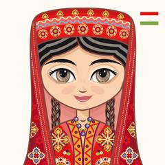 The girl in Tajik dress. Historical clothes. Tajikistan. Portrait. Avatar.