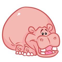 Fat Hippo cartoon illustration   image animal character