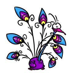 Peacock funny cartoon character  illustration