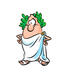 Roman senator man character cartoon illustration