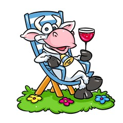 Cow Rest sunbed cartoon illustration  isolated image animal character