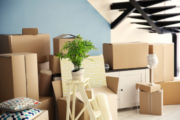 Packed household goods for moving into new house