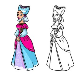 Fairy Tale medieval dress cartoon illustration contour illustration