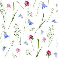Floral seamless pattern.Colorful floral pattern with wild flowers and herbs on a white background, drawing watercolor. Bluebell,clover and grass.