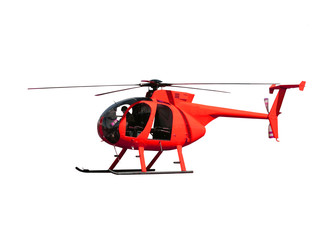 Generic red helicopter used for transport, fire fighting and rescue operations, isolated.