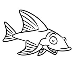 Fish happiness coloring pages isolated image animal character