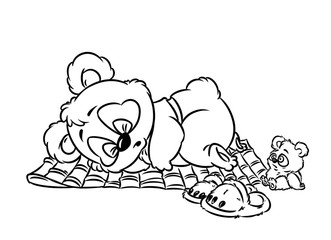 Panda little sleeping coloring page cartoon illustration