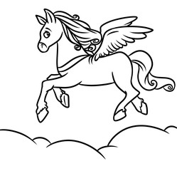 Flying horse Pegasus Coloring Pages cartoon illustration