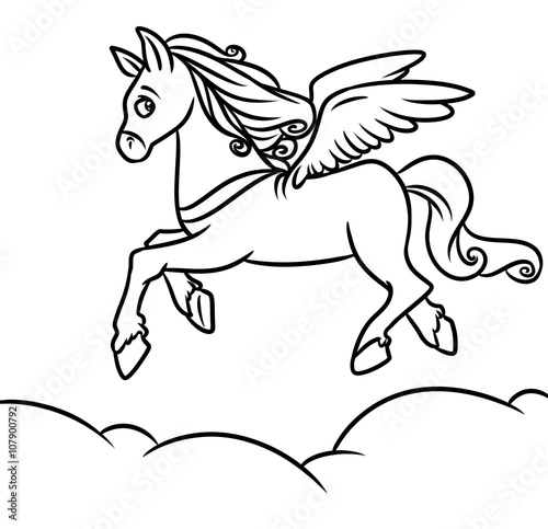 Flying Horse Pegasus Coloring Pages Cartoon Illustration Stock
