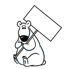 Polar Bear plate cartoon illustration isolated image