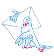 Mail white dove cartoon illustration
