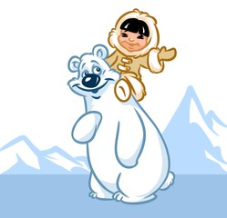 North Pole polar bear Eskimo boy cartoon illustration