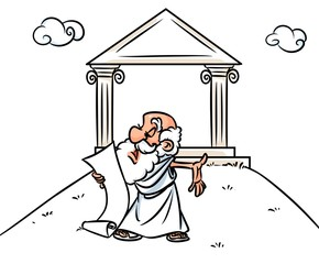 Ancient Greek orator cartoon illustration