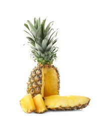 Sliced ripe pineapple, isolated on white