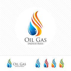3D oil and gas logo design. Colorful 3D oil and gas logo vector