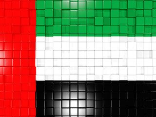 Background with square parts. Flag of united arab emirates. 3D i