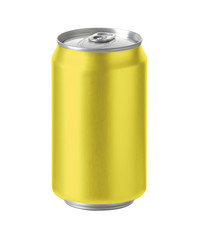 yellow aluminum can with space for design and clip path