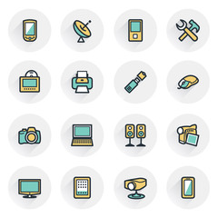 Electronics icons. Contour lines with color fills. Flat design.