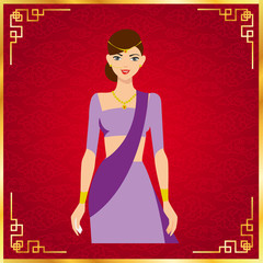 The Beautiful Woman traditional India . India tradition. Vector illustration