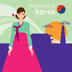 Beautiful Woman traditional Korean . Korean tradition. Vector illustration