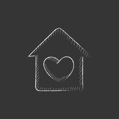 House with heart symbol. Drawn in chalk icon.