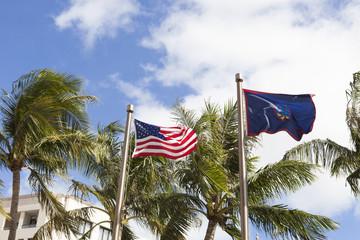 星条旗とグアム旗