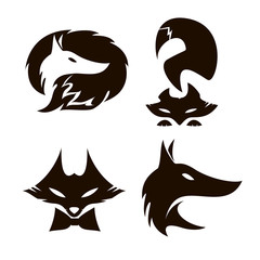 Fox set of silhouettes, vector.