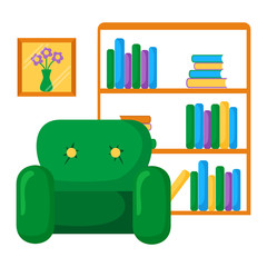 Vector illustration with bookcase and armchair