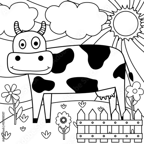Drawing Paper With Dairy Cow Design Stock Image And Royalty Free