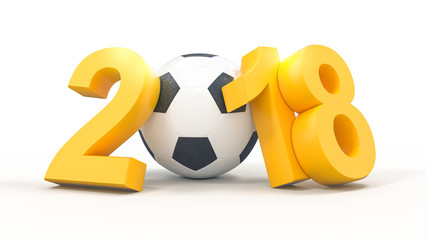 Soccer 2018 with football ball on white background