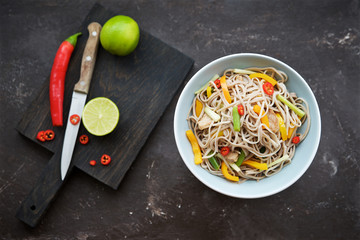 Noodles with pork and vegetables