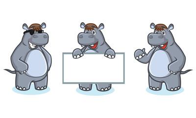 Gray Hippo Mascot Vector happy