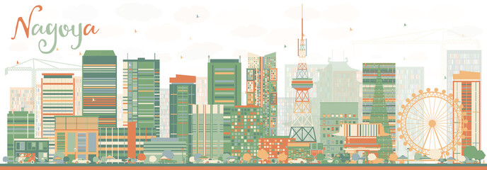 Abstract Nagoya Skyline with Color Buildings.