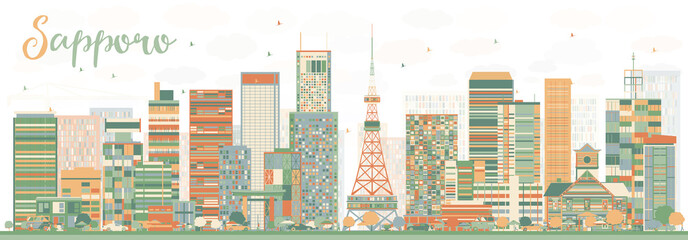 Abstract Sapporo Skyline with Color Buildings.