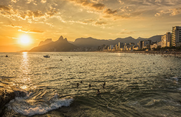 Sunset over Ipanema Beach with iconic mountains, Rio de Janeiro
