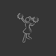 Cheerleader. Drawn in chalk icon.