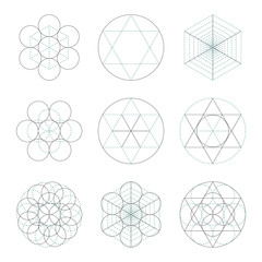 Set of nine symbols of sacred geometry. Linear character  for tattoo black and blue lines on the white isolated