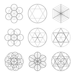 Set of nine symbols of sacred geometry. Linear character for tattoo black and dotted lines on the white isolated
