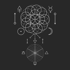 Symbol of alchemy and sacred geometry. Three primes: spirit, soul, body and 4 basic elements: Earth, Water, Air, Fire