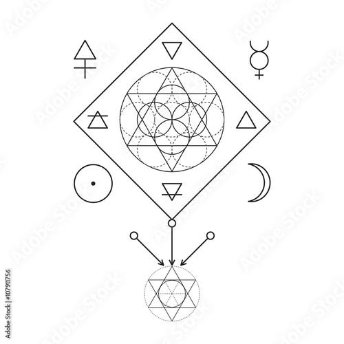 Symbol Of Alchemy And Sacred Geometry Three Primes Spirit Soul
