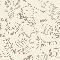 Beige and brown oceanic sea seamless pattern with cute whale. Great background for sea party invitation or tile textile.