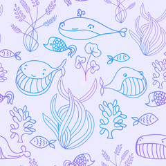 Colorful blue and violet oceanic sea seamless pattern with cute whale. Background for sea party invitation or textile.