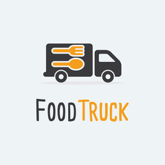 Food Truck Logo Template. Vector illustration. Food Truck vector icons flat style. Food Truck isolated vector. Food Truck with spoon and fork on white background.