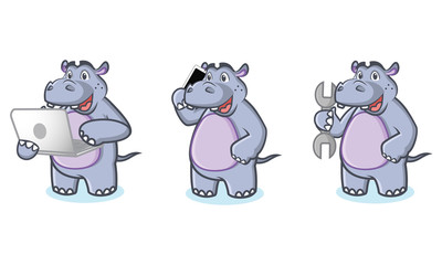 Hippo Mascot Vector with laptop