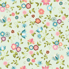Seamless background with pink and blue flowers. Floral pattern.