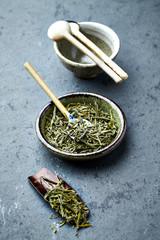 Organic Sencha green tea with ceramic spoon