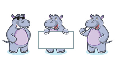 Hippo Mascot Vector happy