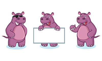 Purple Hippo Mascot happy