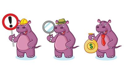 Purple Hippo Mascot Vector money
