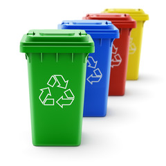Green, blue, red and yellow recycle bins